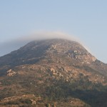 Arunachala hill from the roof of my guest house