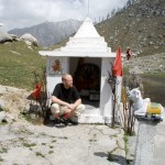Outside the Shiva temple at the lake