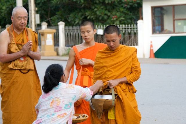 The monk's procession in Luang Prabang